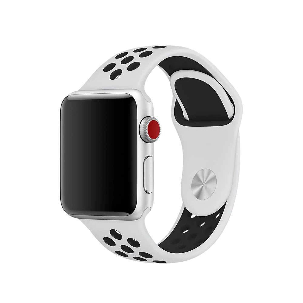 Ремешок Nike для Apple Watch 38 mm бело-чёрный (силикон)
