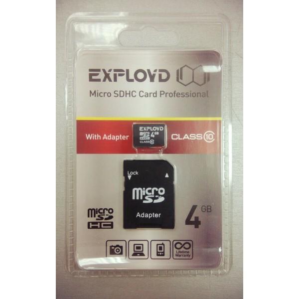 Карта памяти Exployd micro SD 4Gb class 10 с...