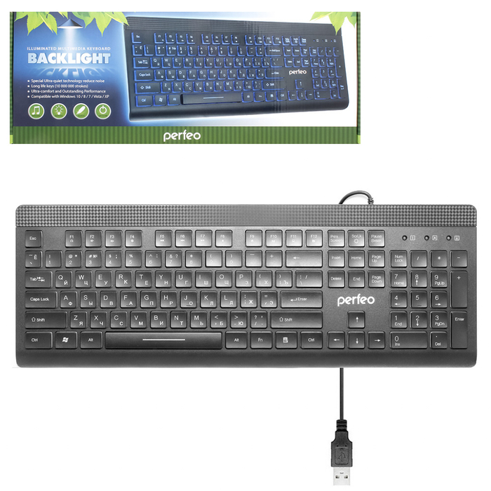 Клавиатура Perfeo BackLight USB PF-5138...